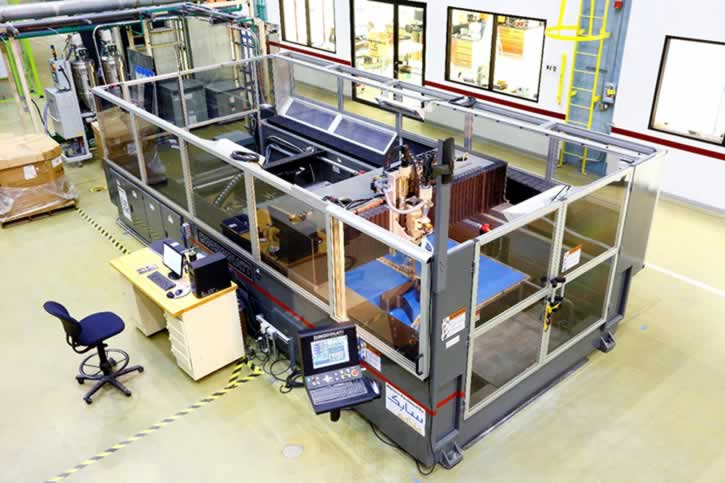 The Big Area Additive Manufacturing (BAAM) printer from Cincinnati Inc. was used to print the world's first 3D-printed car – Local Motors' Strati. The industrial size and speed of the printer enable large parts to be printed quickly. The Strati was printed in 44 hours at IMTS in September 2014. (Photo courtesy of SABIC)
